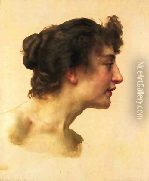 Study of the Head of Elize Brugière Oil Painting - William-Adolphe Bouguereau