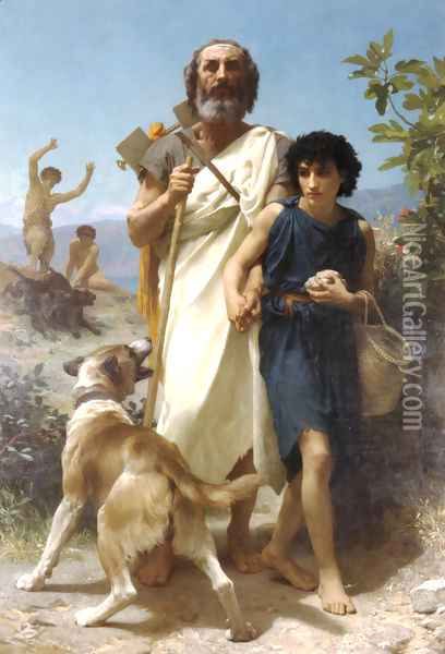 Homere et son Guide [Homer and his Guide] Oil Painting - William-Adolphe Bouguereau