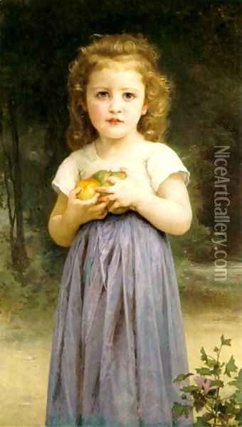 Little Girl Holding Apples Oil Painting - William-Adolphe Bouguereau