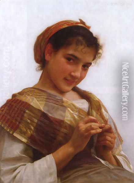 Jeune fille au crochet (Young girl crocheting) Oil Painting - William-Adolphe Bouguereau