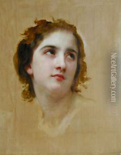 Sketch of a Young Woman [detail] Oil Painting - William-Adolphe Bouguereau