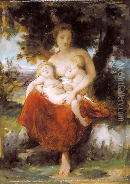 Sketch for 'Charity' Oil Painting - William-Adolphe Bouguereau
