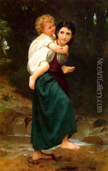 Le Passage du gué (The Crossing of the Ford) Oil Painting - William-Adolphe Bouguereau