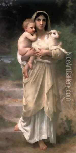 Les agneaux (Lambs) Oil Painting - William-Adolphe Bouguereau