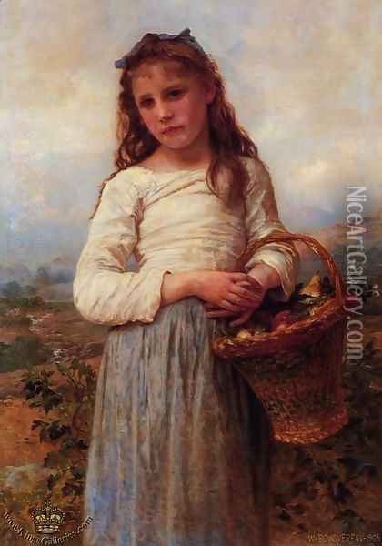 Young Girl with a Basket of Fruit Oil Painting - William-Adolphe Bouguereau