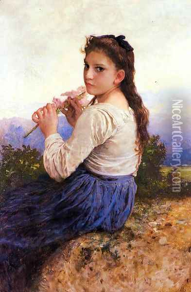 Young Girl Holding a Pink Gladiolus Oil Painting - William-Adolphe Bouguereau
