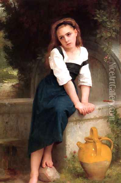 Ophan by the Well Oil Painting - William-Adolphe Bouguereau