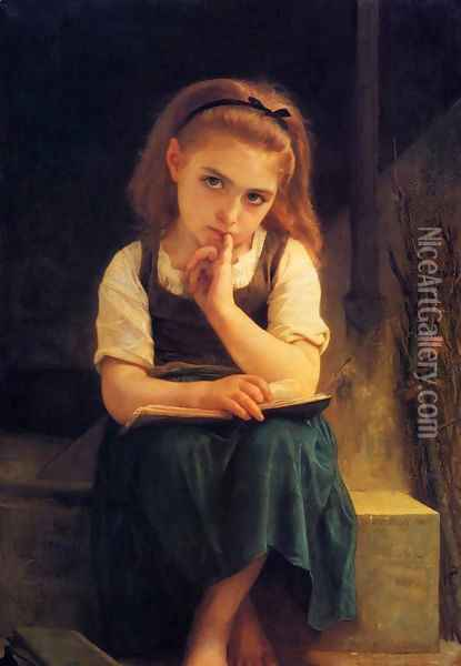 The Difficult Lesson Oil Painting - William-Adolphe Bouguereau