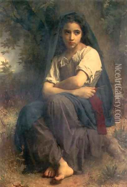 The Little Knitter Oil Painting - William-Adolphe Bouguereau