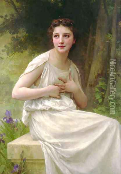 Reflexion [Reflection] Oil Painting - William-Adolphe Bouguereau