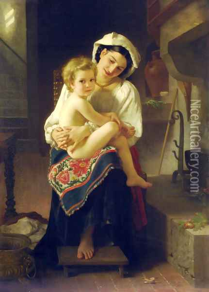 Young Mother Gazing At Her Child Oil Painting - William-Adolphe Bouguereau