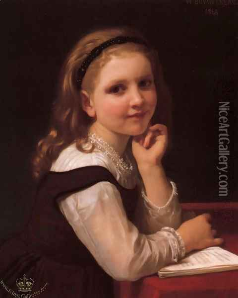 Young Schoolgirl Oil Painting - William-Adolphe Bouguereau
