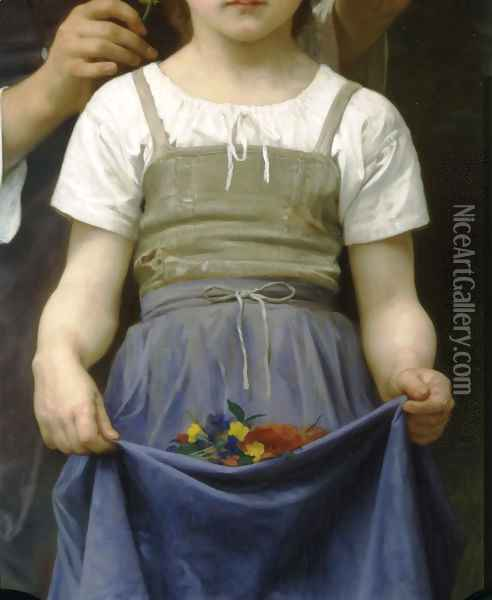 Parure des Champs [detail, lower right] [The Jewel of the Fields] Oil Painting - William-Adolphe Bouguereau
