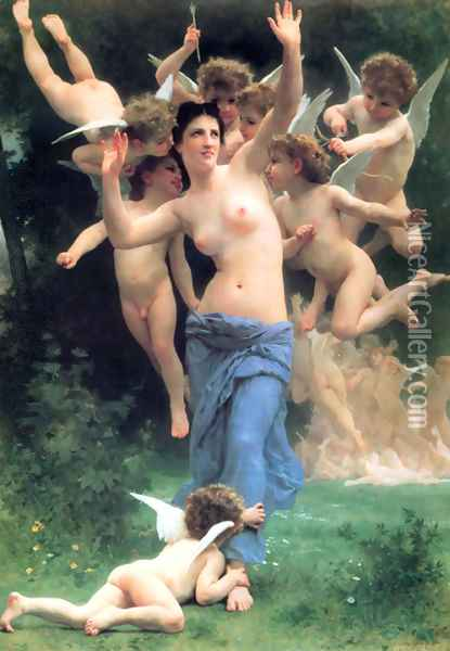 Invading Cupids Realm Oil Painting - William-Adolphe Bouguereau