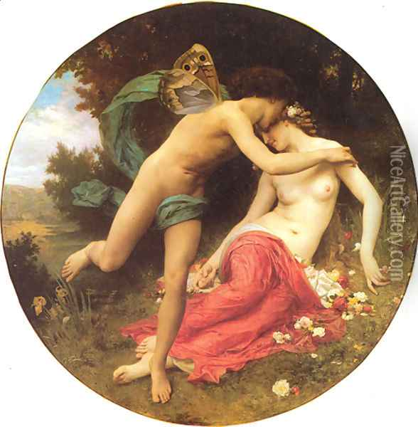Cupid And Psyche Oil Painting - William-Adolphe Bouguereau