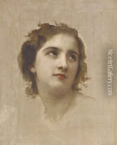 Study of a Young Girl's Head 2 Oil Painting - William-Adolphe Bouguereau