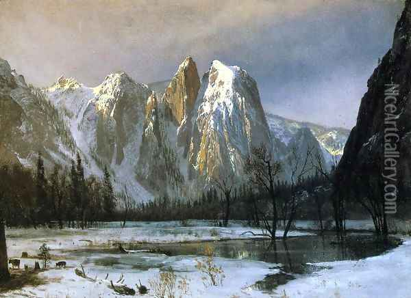 Cathedral Rocks, Yosemite Valley, California Oil Painting - Albert Bierstadt