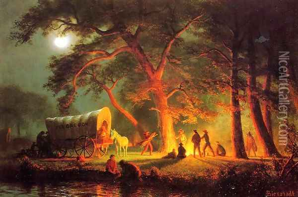 Oregon Trail Oil Painting - Albert Bierstadt