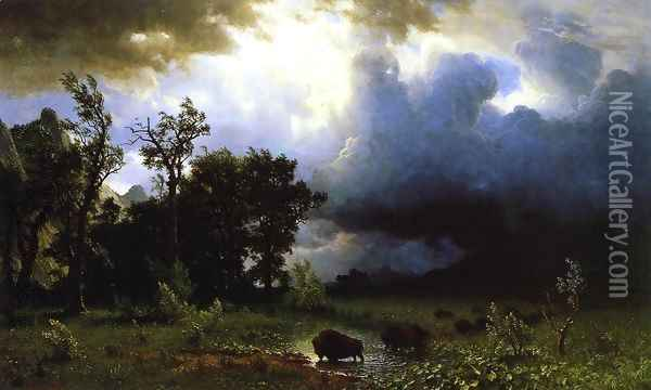 Buffalo Trail (or The Impending Storm) Oil Painting - Albert Bierstadt
