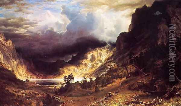 A Storm In The Rocky Mountains Mr Rosalie Oil Painting - Albert Bierstadt