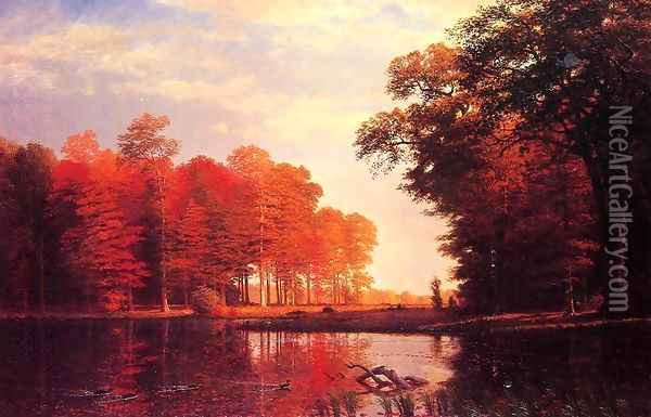Autumn Woods Oil Painting - Albert Bierstadt