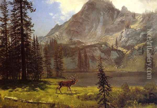 Call Of The Wild Oil Painting - Albert Bierstadt