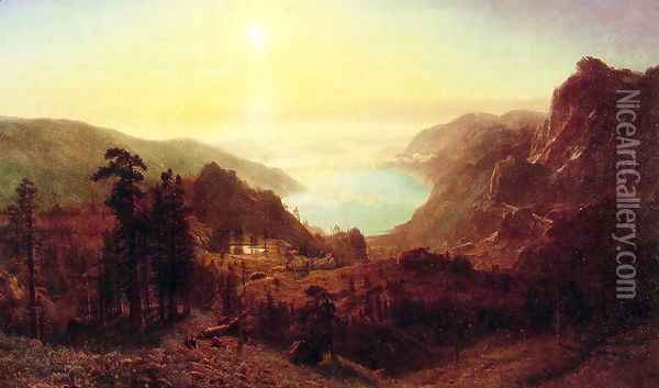 Donner Lake From The Summit Oil Painting - Albert Bierstadt