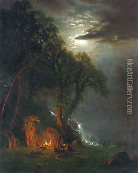 Campfire Site Yosemite Oil Painting - Albert Bierstadt