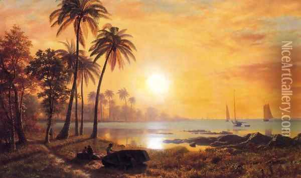 Tropical Landscape With Fishing Boats In Bay Oil Painting - Albert Bierstadt