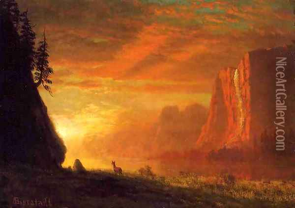 Deer At Sunset Oil Painting - Albert Bierstadt
