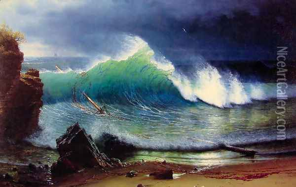 The Shore Of The Turquoise Sea Oil Painting - Albert Bierstadt