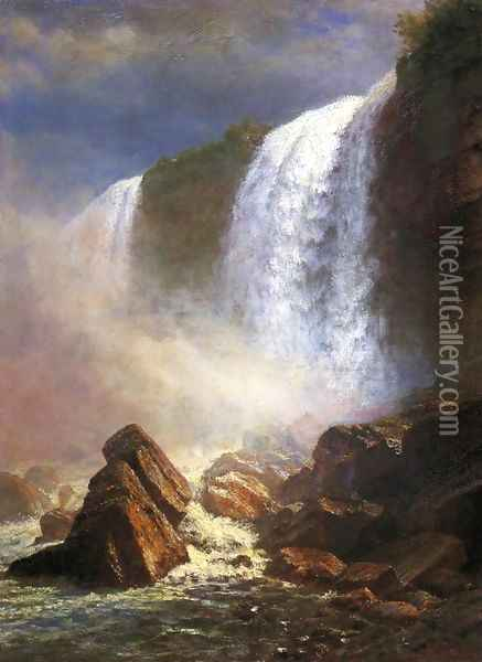 Falls Of Niagara From Below Oil Painting - Albert Bierstadt