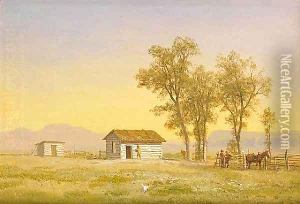 Homestead in the Rocky Mountains 1863 Oil Painting - Albert Bierstadt