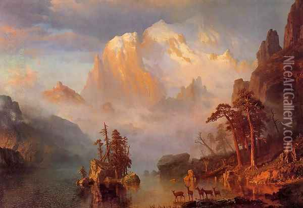 Rocky Mountains Oil Painting - Albert Bierstadt