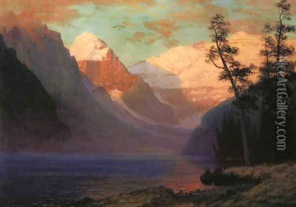 Evening Glow Lake Louise Oil Painting - Albert Bierstadt