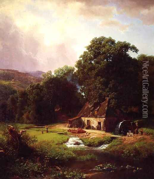 The Old Mill Oil Painting - Albert Bierstadt