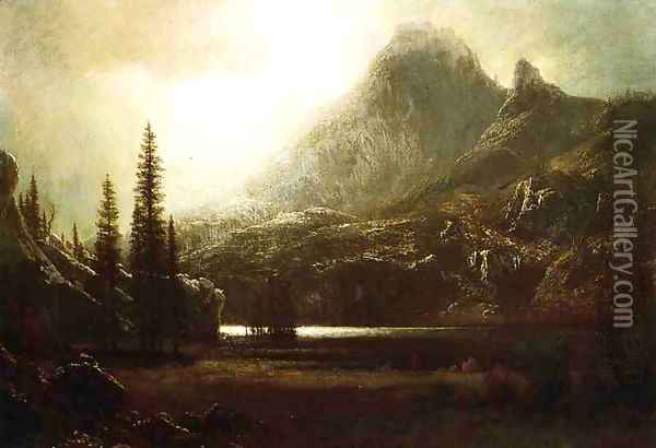 By A Mountain Lake Oil Painting - Albert Bierstadt