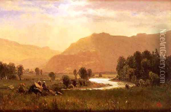 Figures In A Hudson River Landscape Oil Painting - Albert Bierstadt