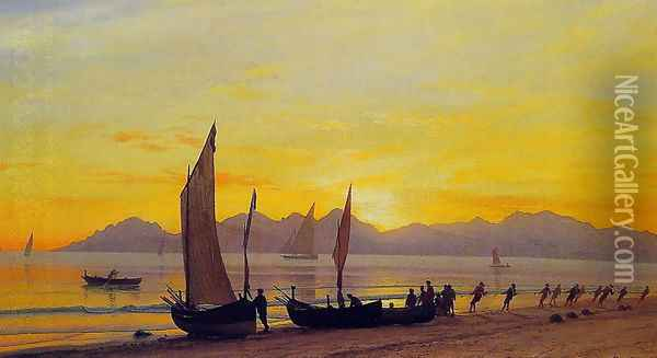 Boats Ashore At Sunset Oil Painting - Albert Bierstadt