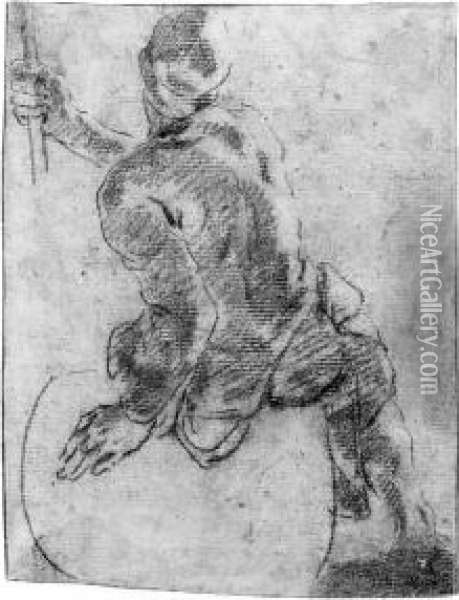 A Man Lifting A Barrel (recto); A Draped Nude Sitting On A Barrel,holding A Rope (verso) Oil Painting - Angelo Trevisani