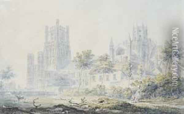 Ely Cathedral From The South-east Oil Painting - Joseph Mallord William Turner