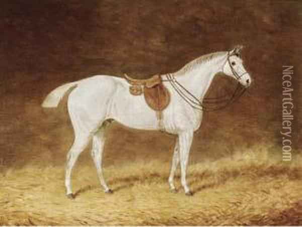 A Saddled Grey Hunter In A Stable; And A Saddled Bay Hunter In Astable Oil Painting - Joseph Mallord William Turner