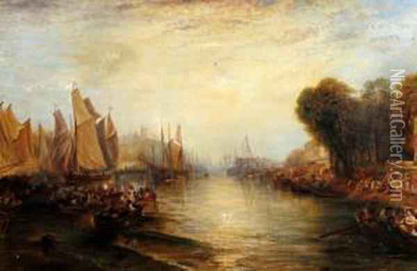 Figures And Boats In A British Estuary, Evening Oil Painting - Joseph Mallord William Turner