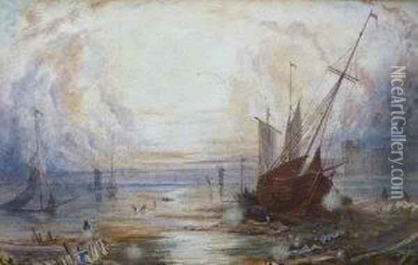 Shipping At Sunset Oil Painting - Joseph Mallord William Turner