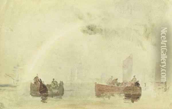 On The Medway Oil Painting - Joseph Mallord William Turner