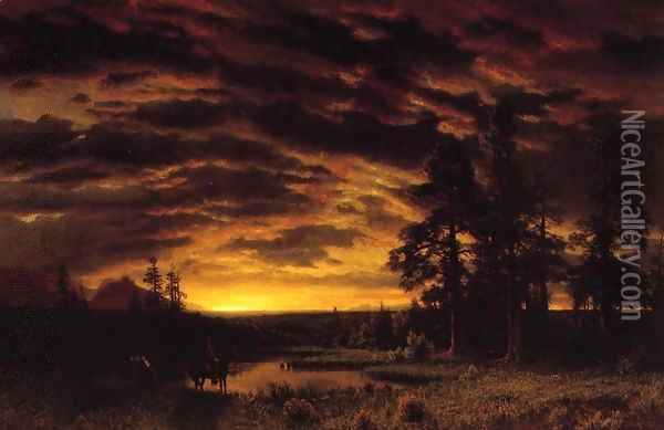 Evening On The Prarie Oil Painting - Albert Bierstadt