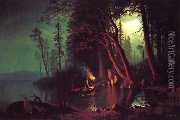 Lake Tahoe Spearing Fish By Torchlight Oil Painting - Albert Bierstadt