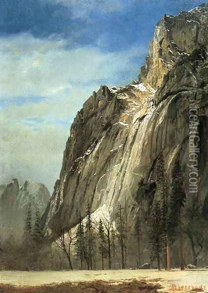 Cathedral Rocks A Yosemite View Oil Painting - Albert Bierstadt