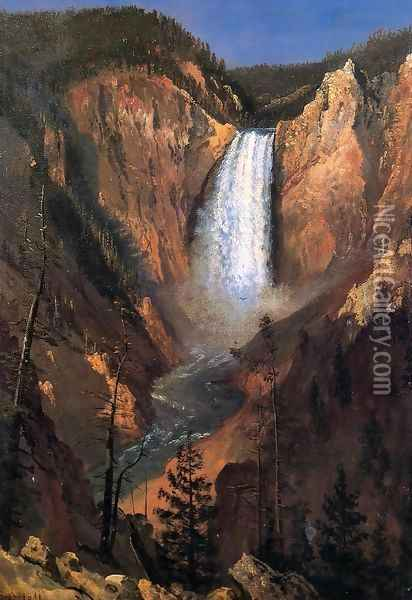 Lower Yellowstone Falls Oil Painting - Albert Bierstadt