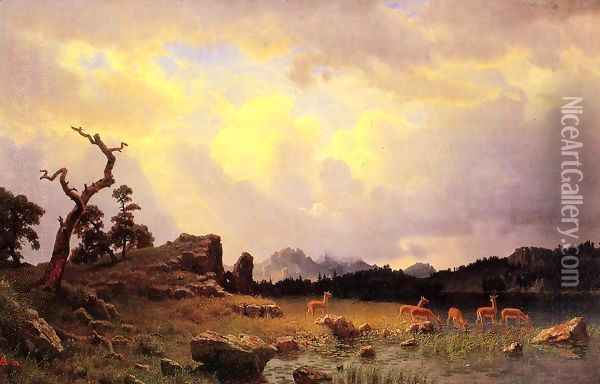 Thunderstorm In The Rocky Mountains Oil Painting - Albert Bierstadt